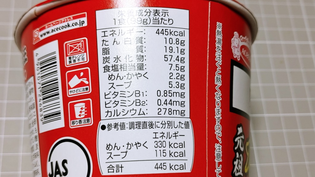 エースコック 味の大王元祖カレーラーメンのカロリー