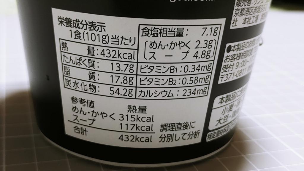 ファミリーマート サンヨー食品 金沢濃厚中華そば 神仙 濃厚ド豚骨醤油中華そばのカロリー